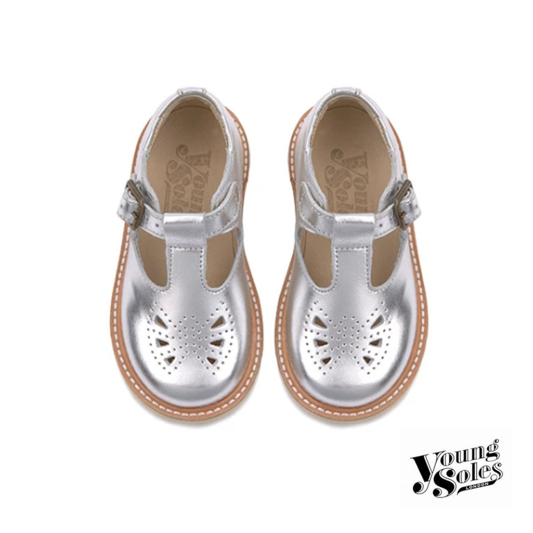 Rosie T-bar Shoe Silver Leather
