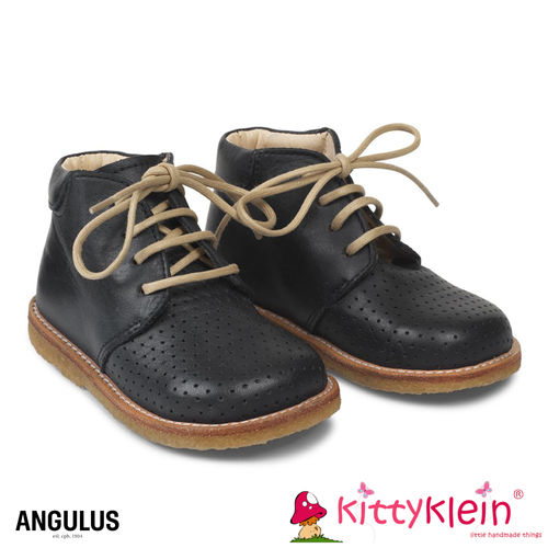 Angulus Starter Boot with lace and hole Pattern Navy blau