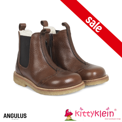 Angelus Chelsea Boots with elastic and zipper Anthracite Brown