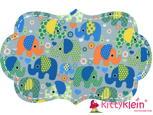 Soft Shell Druck Elefanten grau / orange | kittyklein®